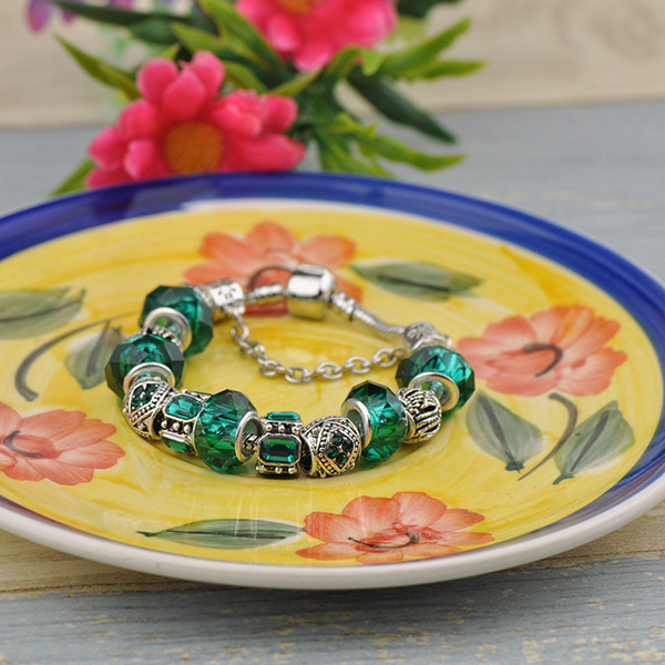 2019 Translucent Glass Beads Fit Pandora Charm Bracelets Silver Emerald Green Gemstone Crystal Beaded Women Luxury Snake Chain Jewelry P49