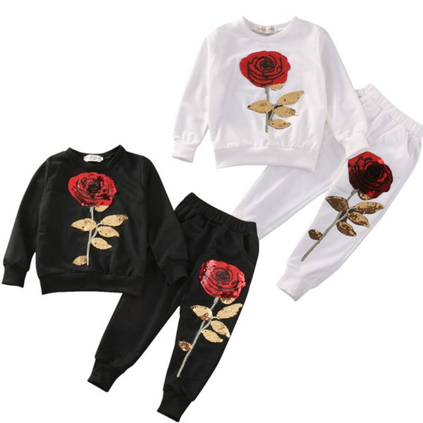 2018 Nuovo infantili per bambini delle ragazze 2PCS Paillettes Rosa Outfits Abbigliamento maglietta + pantaloni lunghi Set di tuta insieme casuale 2-7Y