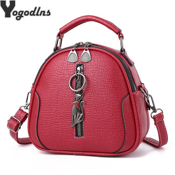 High Quality solid PU Leather Women Bag Ladies Crossbody Messenger Shoulder Bags Vintage Handbags kitten ornaments V191116