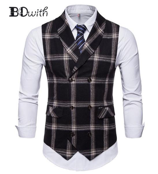 Sem mangas slim fit terno colete homens colete homens negros double breasted six botões negócio namoro vestido de noiva colete