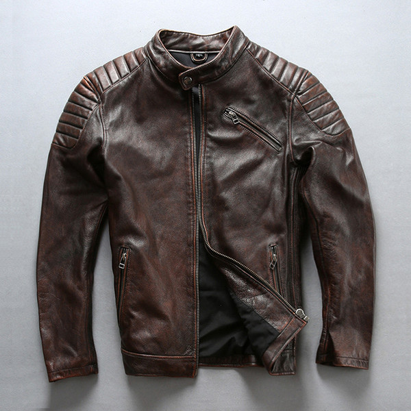 2 colours AVIREX FLY motorcycle leather jackets cow leather jackets hip hop stand collar protect Shoulder elbow