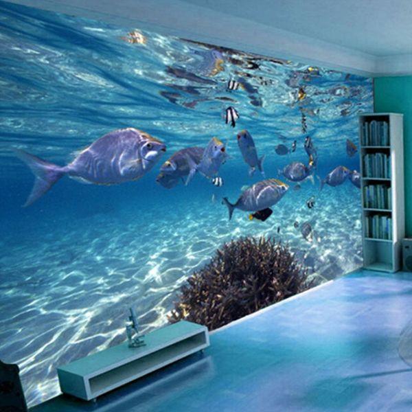 Papier peint 3D Papier Peint Créatif Sous-marin Monde Marine Vie Murale Enfants Chambre Aquarium Salon Toile de Fond Mur Papier Décor À La Maison