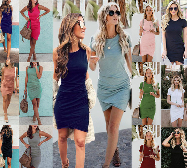 best selling Solid Color Crew Neck Dress Short Sleeves Irregular Dress Sexy Ruched Dresses Fashion Hip Wrap Mini Skirt Women Clothes Drop SHip 220060
