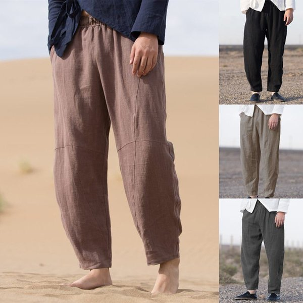 Chinese Style Retro Men Harem Pants Joggers Loose Solid Cotton Casual Pants Hip-hop Streetwear Trousers Men Pantalon Hombre 2019