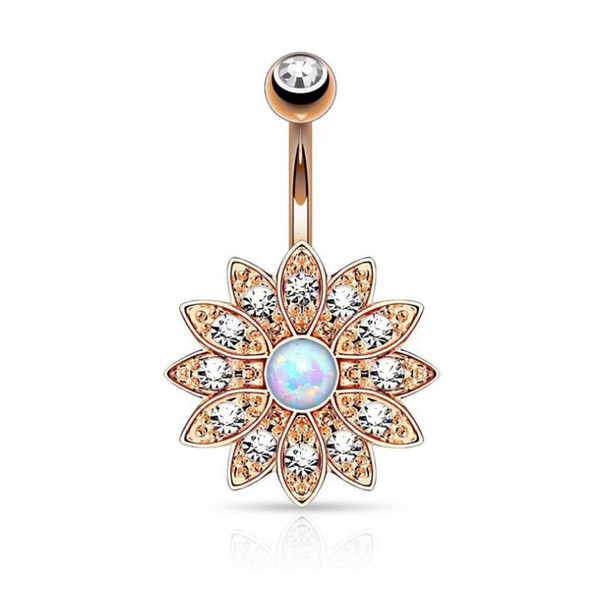 QCOOLJLY Fashion Gold Color Body Jewelry Zirconia Crystal Flower Belly Button Rings Surgical Sexy Navel Piercing For Women Gift