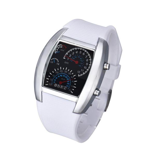 Orologio da polso sportivo con quadrante blu con flash LED moda orologio da donna