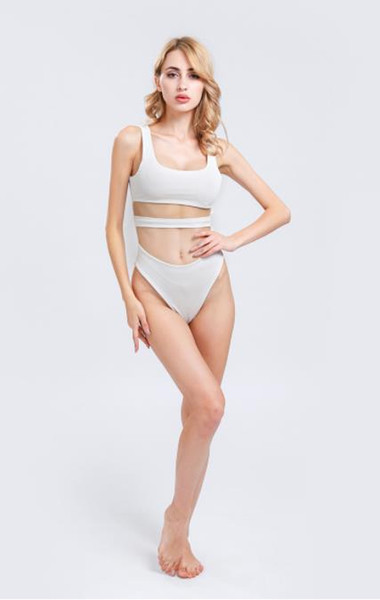 2019 New European and American sexy pure color shoulder straps exposed umbilical hoodie swimwear open back simple swimwear