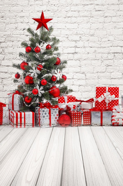 Laeacco Pared de ladrillo gris Árbol de navidad Regalo de tablero de madera Fondos Retrato de niño Fotografía Telones Fotografía Photocall Estudio de fotografía