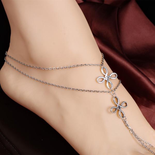 Women Beach Multi Tassel Toe Chain Link Foot Jewelry Anklet Chain Barefoot Sandal Beach Foot #10