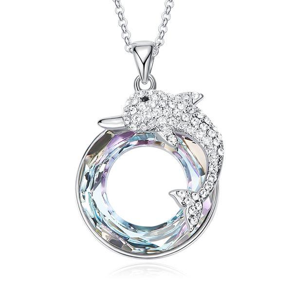 Atacado Swarovski Cristal Pingentif Bonito Do Golfinho Colares De Cristal Colorido Grandes Pingentes Exquisite Bijoux Presentes para As Mulheres Meninas