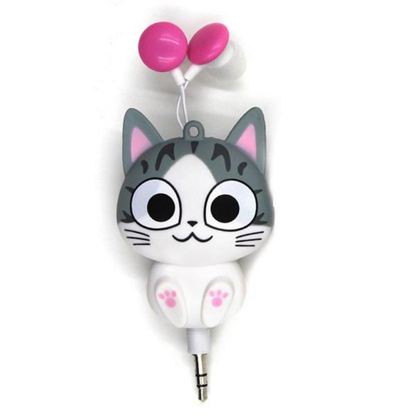 Sevimli Karikatür Kedi Kulaklık Geri Çekilebilir yaratıcı-inovative Temizle Mini Twins Kız için Spor Kablolu Pembe Kulaklık Cep Telefonu