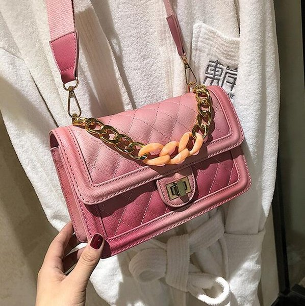 Wholesale brand women handbag new ins super fire diamond shoulder bag fashion embroidered line leather chain bag gold lock sweet shoulder ba