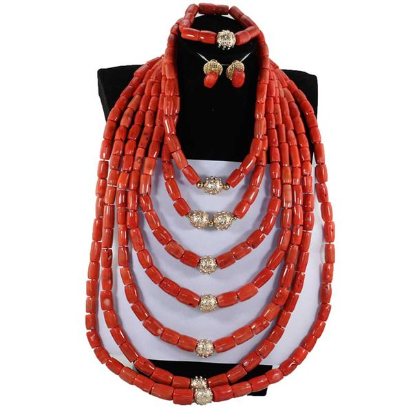 Exclusive Luxury Real African Nigerian Coral Bead Jewelry Set for Wedding Big Heavy Full Coral Necklace Jewelry For Women NCL714