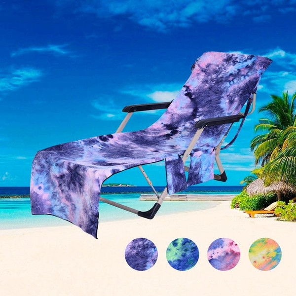 Lazy Bed Companion Beach Towel Beach Chair Cover Quick-Dry Chaise Lounge Towel Cover For Pool With Storage Pocket