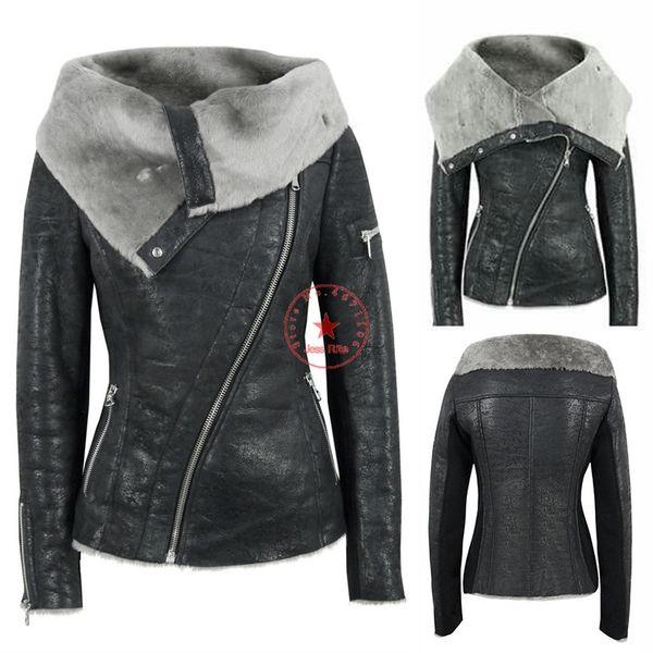 PU de la chaqueta de la chaqueta de cuero, además de terciopelo asimétrica pelo europeos y americanos de las mujeres de la tendencia de la cremallera de la motocicleta caliente corta