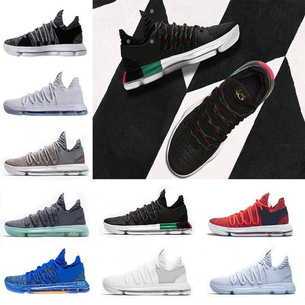 2018 New KD 10 Multi-Color Oreo Numbers BHM Igloo Men Basketball Shoes KD 10 X Elite Mid Kevin Durant Sport Sneakers