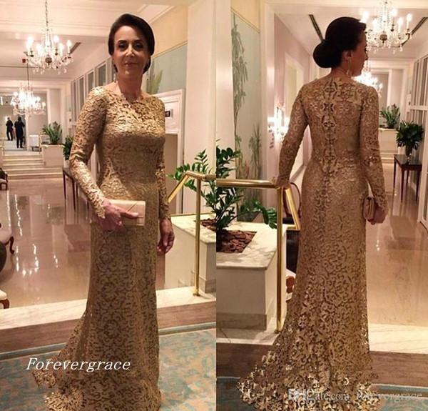 2019 Vintage Lace Long Sleeves Mutter der Braut Kleider ausgestattet formale Patin Frauen tragen Abend Hochzeit Gäste Kleid Plus Größe