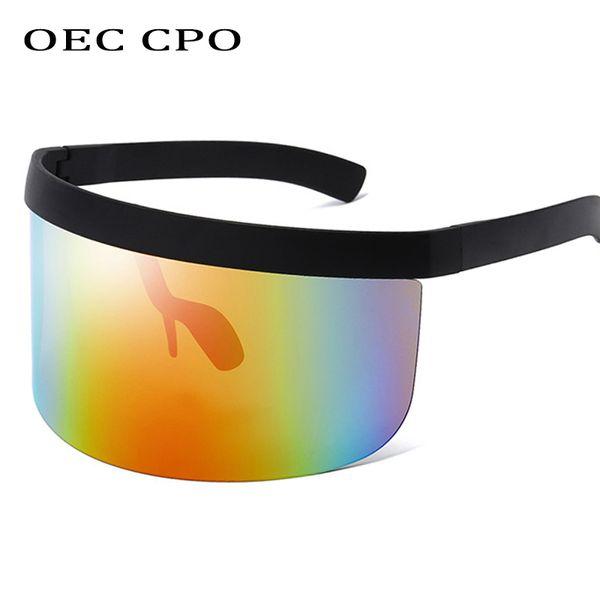 OEC CPO Lunettes De Soleil De Mode Femmes Hommes Marque Design Goggle Lunettes De Soleil Grand Cadre Bouclier Visière Hommes Coupe-Vent LunettesL148