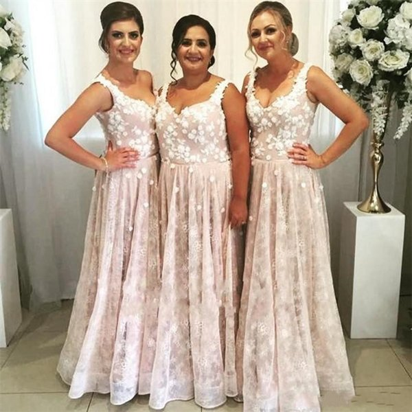 c4872bcdb488 New Blush Pink Bridesmaid Dresses 2019 A-Line Cheap Arabic Spaghetti  Appliques Sleeveless Plus Size