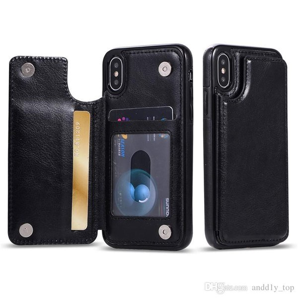 Factory price For iPhone Xs Max Xr S10 Lite 9 8Plus Wallet Case Luxury PU Leather Cell Phone Back Case Cover with Credit Card Slots