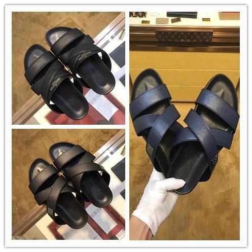Venda quente em 2019 novo Designer De Borracha deslize sandália homens chinelos chinelo Preto Azul causal chinelos Sandálias de praia com Original Box EUA 6-11
