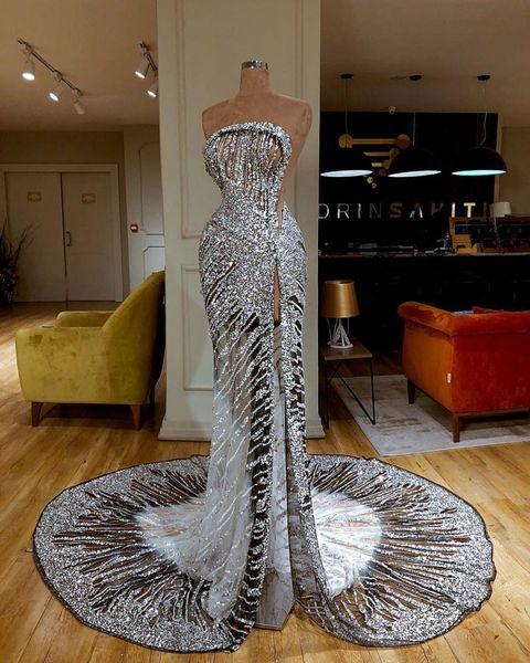 Lüks Gümüş Payetli Kılıf Balo Elbise Vintage Sparkly Yüksek Yan Bölünmüş Akşam elbise Uzun Örgün Parti Pageant Elbise See Through