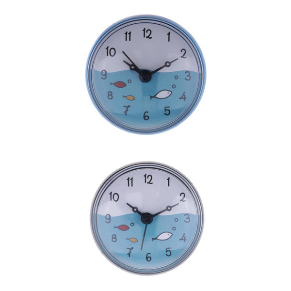 best selling 2pcs Shower Clock Wall Suction Clock Moistureproof Colorful Home Decoration