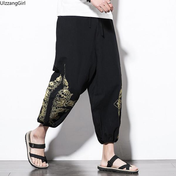 Nakış Bağbozumu Elastik Bel Pamuk Keten Geniş Bacak Hip Hop Gevşek Pantolon Japon Artı Boyutu Erkekler Ayak Bileği Uzunlukta Etnik Halk Rahat