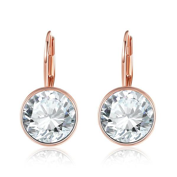 New Fashion Women Jewelry KE748 Real Rose Gold Color Plated Rhinestone Ball Clip Earrings