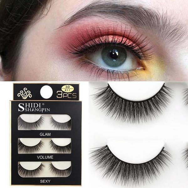 3d Mink Eyelashes Handmade Soft False Eyelash Thick Long False Eyelashes High Quality 3Pairs Fake Eyelash Set with Packing Box 25style