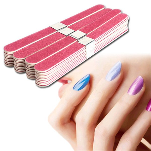 40pcs Nail File Manicure Pedicure Buffer Sanding Files Wood Crescent Sandpaper Grit Nail Art Tool Double Sided Thick Stick
