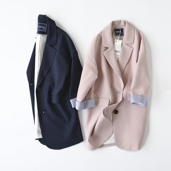Double Breasted Women Suit Jacket female Korean Medium Long female Coat blaser feminino Casual coat female Autumn blazers SH190929