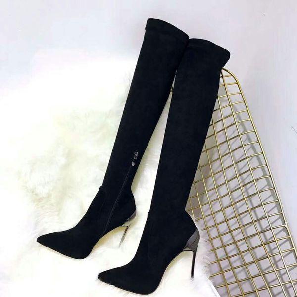 2019 Autumn Winter Women Boots Black Stiletto Metal High Heels Thigh High Boots Fashion Knee Zipper Shoes chaussures femme
