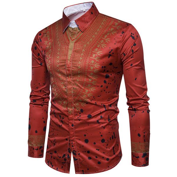 2019 automne et en hiver nouvelle mode impression style national à manches longues chemise des hommes de revers cardigan chemise pour hommes occasionnels