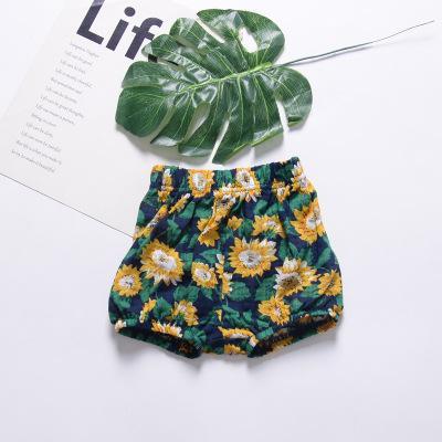 Ins verão fresco respirável bebê criança bebê pão infantil calças de praia flores grandes calças PP V053