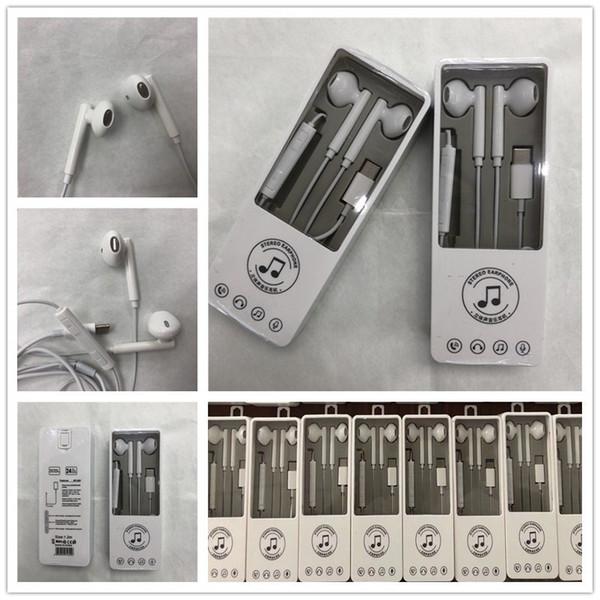 Fone de Ouvido Universal Tipo-C Plugue Fone De Ouvido Estéreo de Metal Earbuds Handsfree Chamadas Controle de Volume Para P20 Mate 10 Pro Com embalagem de varejo