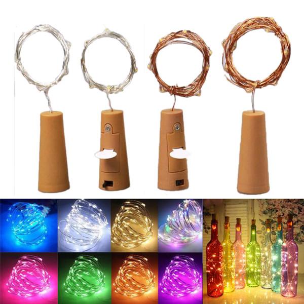 2M 20LED botellas de vino luces de corcho de pilas accionado estrellado luces de cadena de Navidad de bricolaje para el partido de Halloween boda Decoracion