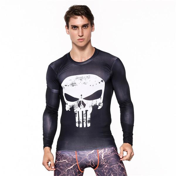 Mens Fitness 3d Prints Long Sleeves T Shirt Men Bodybuilding Skin Tight Quick Dry Rashguard Compression Shirts Mma Crossfit Top