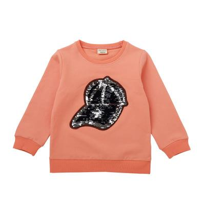 Children's Clothing New Arrival Baby Boys and Girls Hooded Sweatshirt Children's T Shirt Sequin Hat Print Casual Top Tees