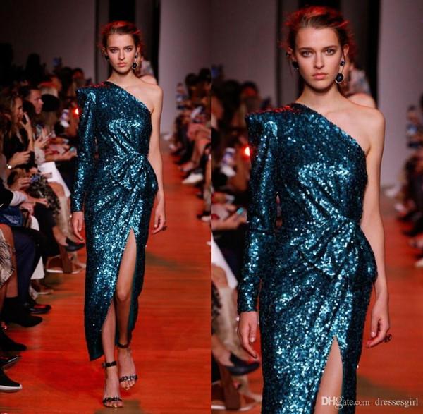 Elie Saab Pavão azul de um ombro manga comprida Bainha Vestidos Prom colaterais Dividir Vestidos Sequins noite desgaste formal