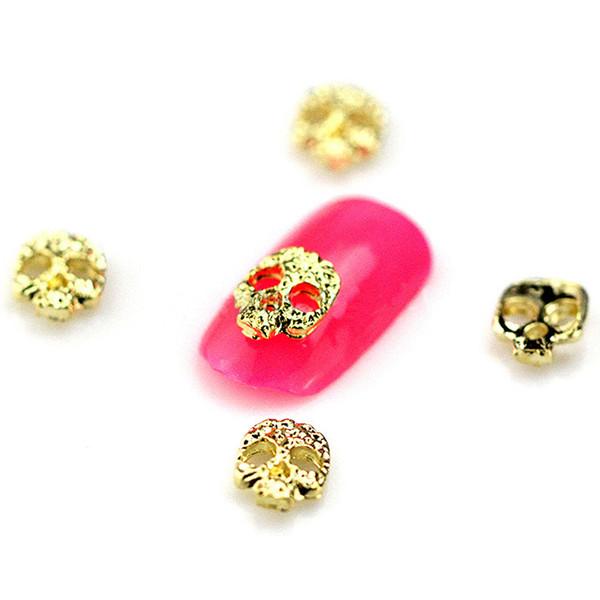 10 Teile / los Neue Silber Gold Schädel 3D Nail art Dekorationen Legierung Nagel Charms Nägel Strass Liefert