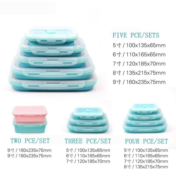 3Pcs/4pcs/Set Food Grade Silicone Lunch Box Collapsible Food Box Portable Microwave Bento Lunch Box Eco-Friendly Food Container C18112301