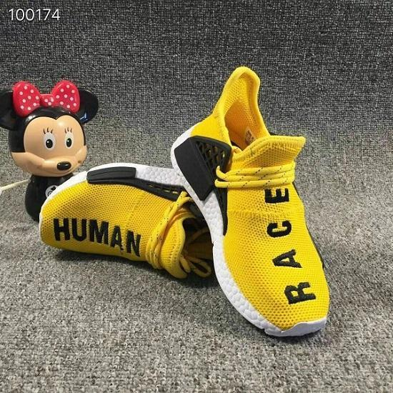 2019 kids Human Race Running Shoes boys girls Solar Pack Black Yellow hu Children Sneakers baby birthday gift 26-35