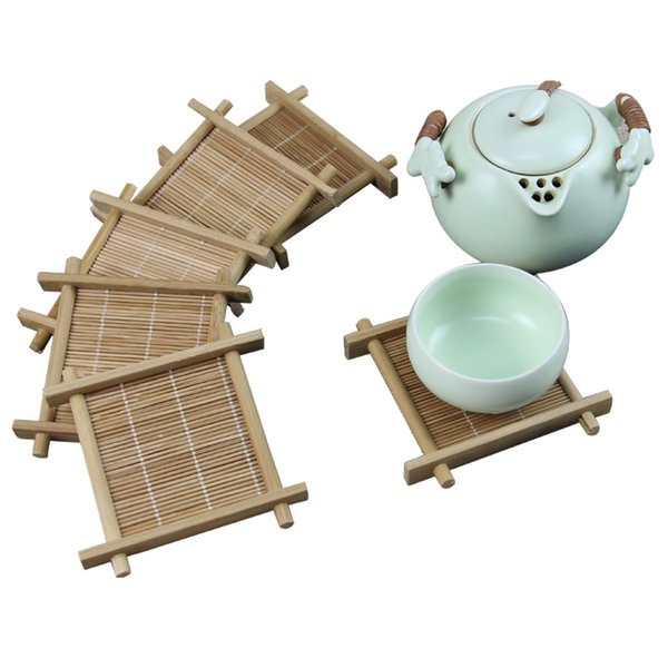 6 Pcs/lot Bamboo Cup Mat Square Coaster set Handmade Place mat For Kungfu Set Kitchen Accessories Drink Tools