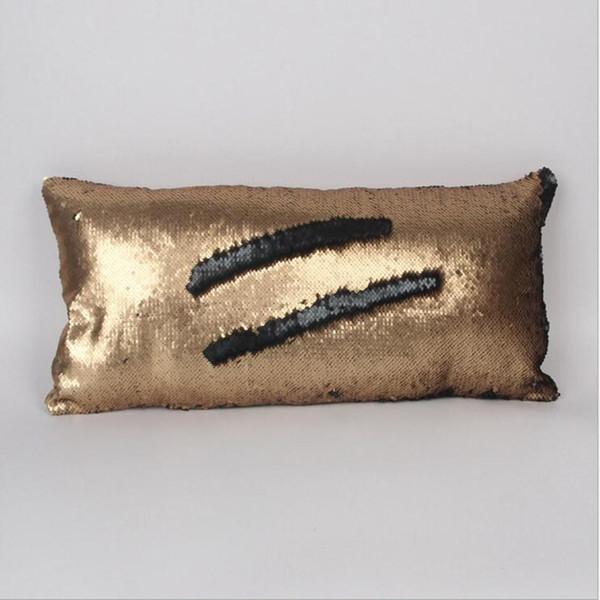 New Design 30*60cm Hot Double Sequins Pillow Case Cover Shiny Square Pillow Case Sofa Car Decorations Mermaid Bright Magic Pillow Case