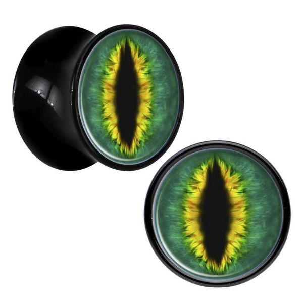 1 Pair All Seeing Snake Eyes Acrylic Saddle Ear Plug Gauges Tunnel Flesh Tunnel Body Piercing Jewelry Aw2079