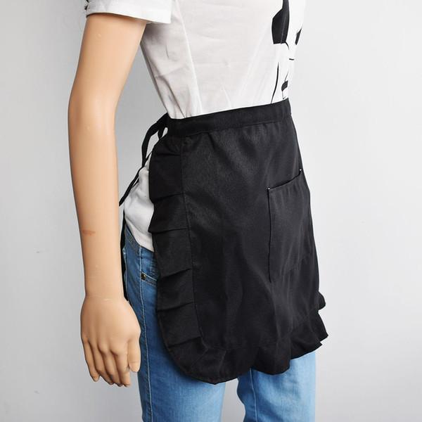 1шт талией кухни Фартук Lace Половина талии Биб костюм горничной с карманом Kitchen партия выступает для женщин Официантка (белый черный)