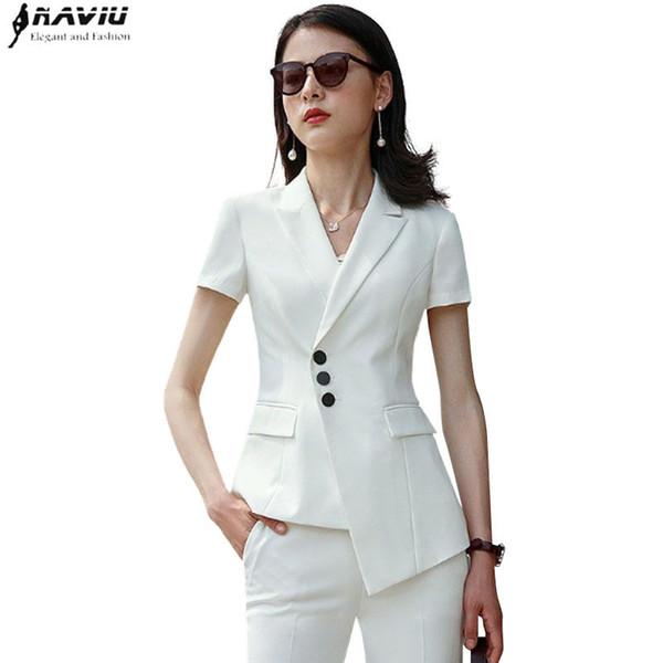 Summer Clothes For Women Pant Suit Ol Formal Business Slim Short Sleeve Blazer And Trousers Office Ladies Plus Size Work Wear J190430
