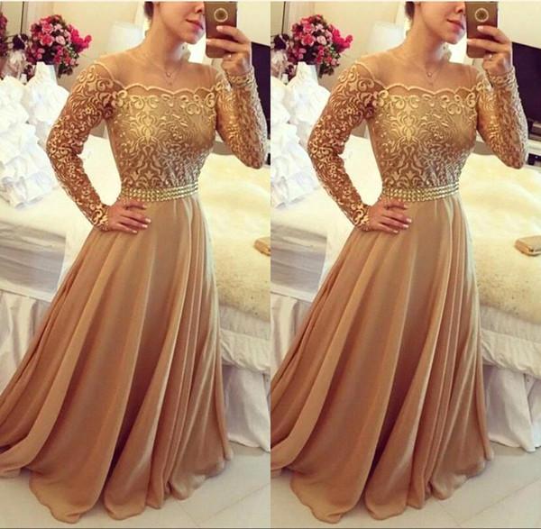 2019 baratos sudafricanos de manga larga de oro formal vestidos de noche fuera del hombro gasa una línea de fiesta vestidos de baile por encargo