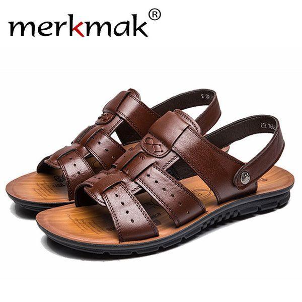 Merkmak England Cow Leather Men Sandals Shoes Black Brown Hand Sewing Men Summer Shoes Breathable Beach Summer Footwear